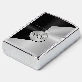 Metallic black and silver geometric design zippo lighter