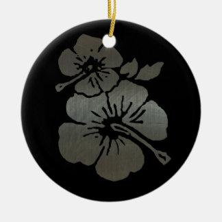 Metallic black and silver textured hibiscus ceramic ornament