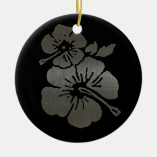 Metallic black and silver textured hibiscus christmas tree ornament