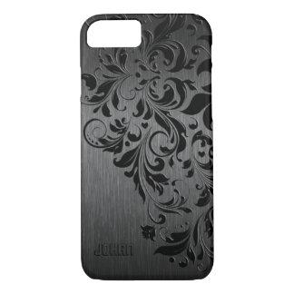 Metallic Black Brushed Aluminum & Black Lace iPhone 8/7 Case