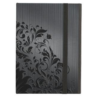 Metallic Black Brushed Aluminum & Floral Accent 4 iPad Air Case