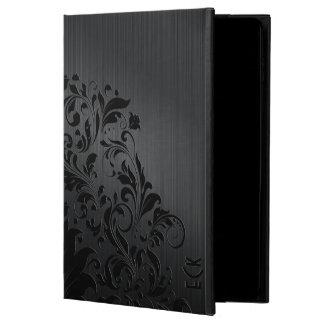 Metallic Black Brushed Aluminum & Floral Accent 4 Powis iPad Air 2 Case