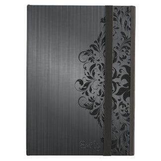 Metallic Black Brushed Aluminum Look Floral Accent iPad Air Cases