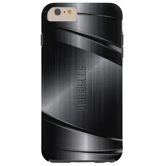 Metallic Black Design Brushed Aluminum Look 2 Tough iPhone 6 Plus Case