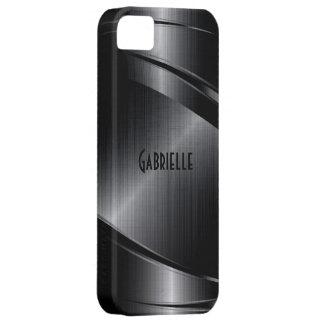 Metallic Black Design Brushed Aluminum Look iPhone 5 Case