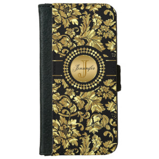 Metallic Black & Gold Vintage Damasks Monogram iPhone 6/6s Wallet Case