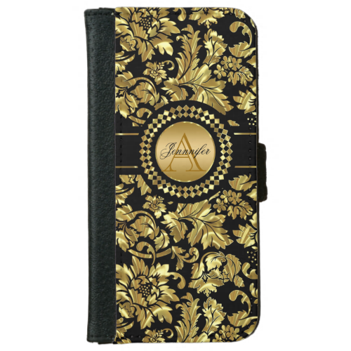 Metallic Black & Gold Vintage Damasks Monogram iPhone 6 Wallet Case