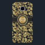 "Metallic Black &amp; Gold Vintage Damasks Monogram Samsung Galaxy S6 Case<br><div class=""desc"">Elegant Black And Metallic Gold Vintage Floral Damasks. Custom Monogram</div>"