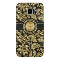 Metallic Black & Gold Vintage Damasks Monogram Samsung Galaxy S6 Case