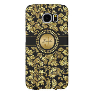 Metallic Black & Gold Vintage Damasks Monogram Samsung Galaxy S6 Cases