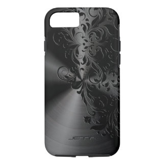 Metallic Black Stainless Steel & Floral Lace iPhone 7 Case