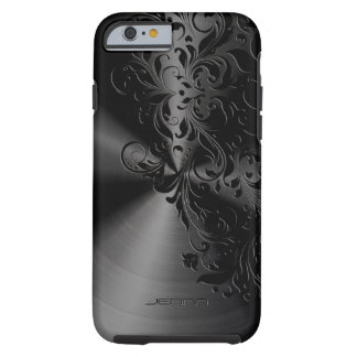 Metallic Black Stainless Steel & Floral Lace Tough iPhone 6 Case