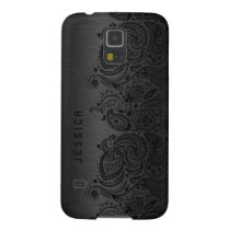 Metallic Black With Black Paisley Lace Galaxy S5 Cover