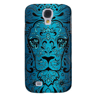 Metallic Blue Black Lion Sugar Skull Samsung S4 Case