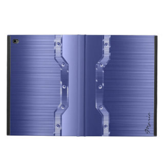 Metallic Blue Brushed Metal Look 3 Monogram Powis iPad Air 2 Case