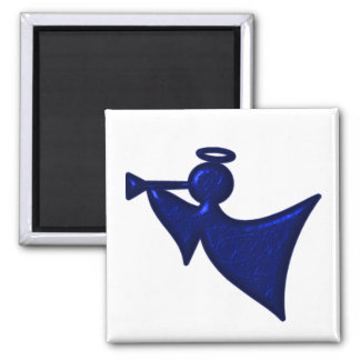 Metallic Blue Christmas Angel 2 Inch Square Magnet