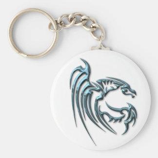 Metallic Blue Dragon with Stripes Keychain