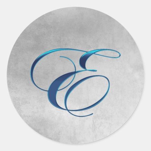 Metallic Blue Elegant Monogram E Sticker