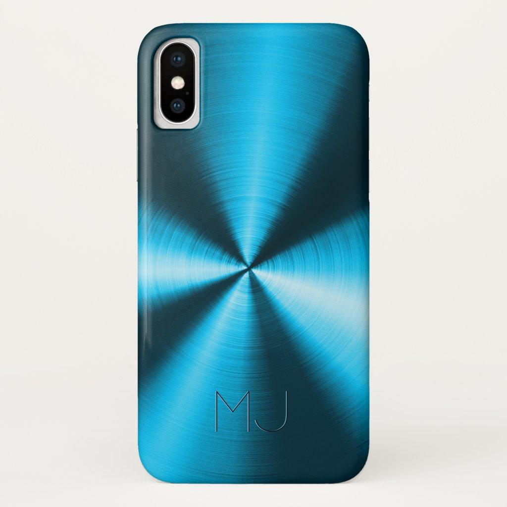 Metallic Blue Faux Stainless Steel Look-Monogram