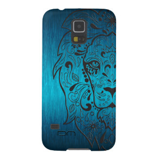Metallic Blue-Green And Black Lion Sugar Skull Case For Galaxy S5