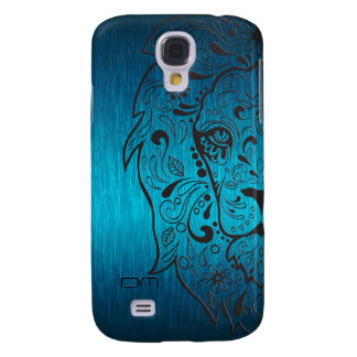 Metallic Blue-Green And Black Lion Sugar Skull Galaxy S4 Case