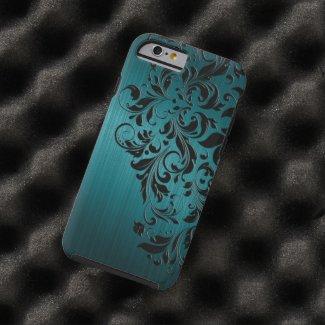 Metallic Blue-Green Brushed Aluminum & Black Lace Tough iPhone 6 Case