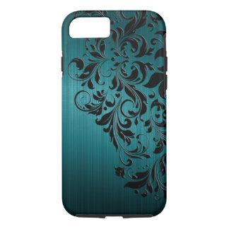 Metallic Blue-Green Brushed Aluminum & Black Lace iPhone 7 Case