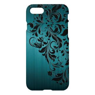 Metallic Blue-Green Brushed Aluminum & Black Lace iPhone 8/7 Case