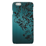 Metallic Blue-Green Brushed Aluminum & Black Lace Glossy iPhone 6 Case
