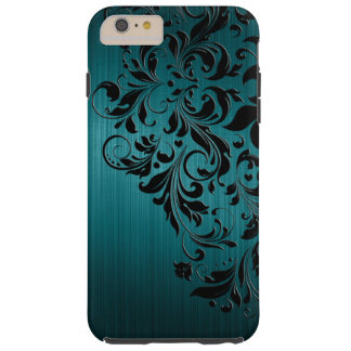 Metallic Blue-Green Brushed Aluminum & Black Lace Tough iPhone 6 Plus Case