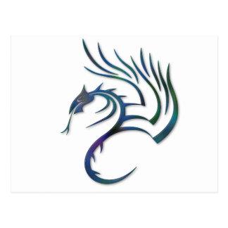 Metallic Blue Green Dragon Postcard