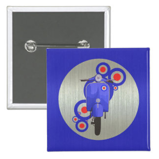 Metallic Blue retro scooter and targets Pinback Button