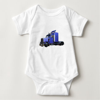 Metallic Blue Semi Tractor Trailer Truck Baby Bodysuit