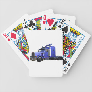 Metallic Blue Semi Tractor Trailer Truck Bicycle Playing Cards
