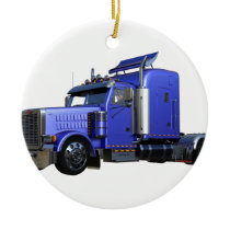 Metallic Blue Semi Tractor Trailer Truck Ceramic Ornament