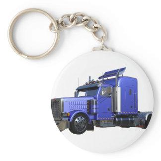 Metallic Blue Semi Tractor Trailer Truck Keychain