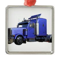 Metallic Blue Semi Tractor Trailer Truck Metal Ornament