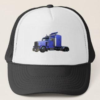 Metallic Blue Semi Tractor Trailer Truck Trucker Hat