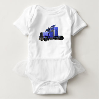 Metallic Blue Semi Truck In Three Quarter View Baby Bodysuit