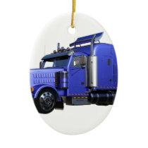 Metallic Blue Semi Truck In Three Quarter View Ceramic Ornament