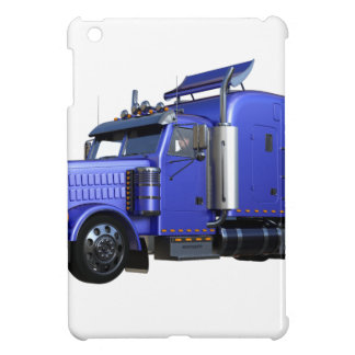 Metallic Blue Semi Truck In Three Quarter View Cover For The iPad Mini