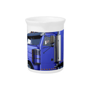 Metallic Blue Semi Truck In Three Quarter View Drink Pitcher
