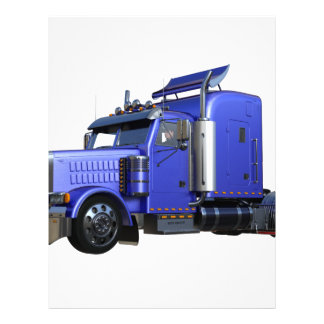 Metallic Blue Semi Truck In Three Quarter View Letterhead