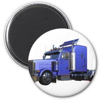 Metallic Blue Semi Truck In Three Quarter View Magnet