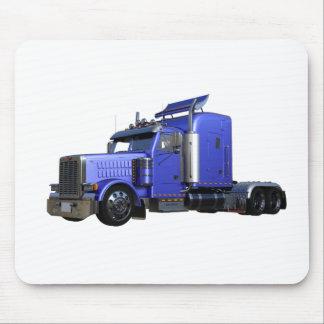 Metallic Blue Semi Truck In Three Quarter View Mouse Pad
