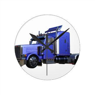 Metallic Blue Semi Truck In Three Quarter View Round Clock