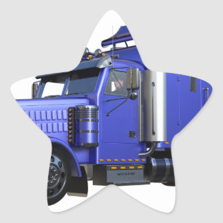 Metallic Blue Semi Truck In Three Quarter View Star Sticker