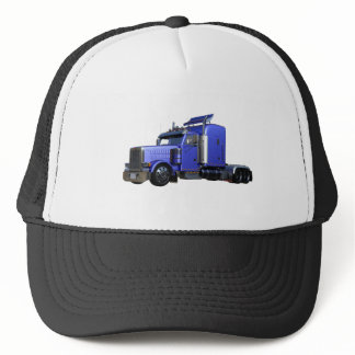 Metallic Blue Semi Truck In Three Quarter View Trucker Hat