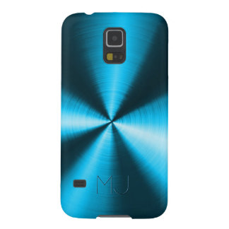 Metallic Blue Stainless Steel Look-Monogram Galaxy S5 Case