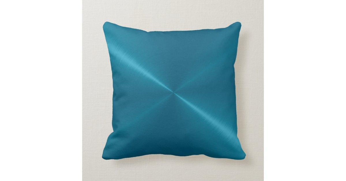 Steel Blue Throw Pillow : Metallic Blue Stainless Steel Metal Look Throw Pillow Zazzle